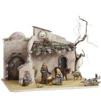 Orientalischer Stall mit Sonnenuhr für 11 - 13cm Krippenfiguren - Original MAROLIN® - Krippenstall für Ihre Weihnachtskrippe - Made in Germany