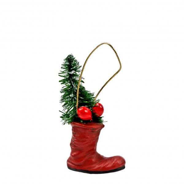 Christmas Tree Ornament *Boot with tree*, red