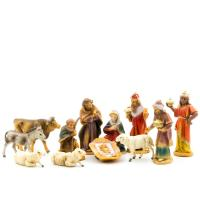 Krippenfiguren Set mit 12 Figuren, 7cm Krippenfiguren aus Kunststoff