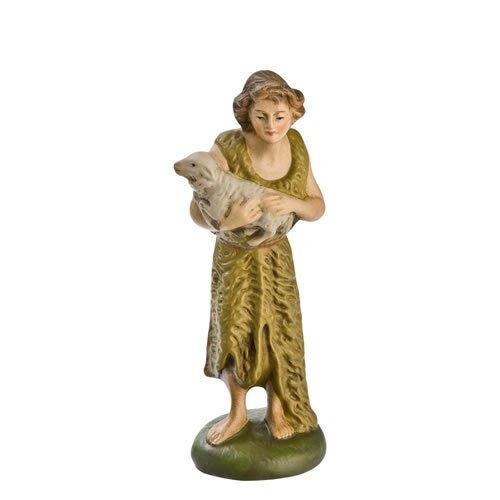 Hirte mit Fellkleid und Schaf, zu 11cm Krippenfiguren - Original MAROLIN® - Krippenfigur für Ihre Weihnachtskrippe - Made in Germany