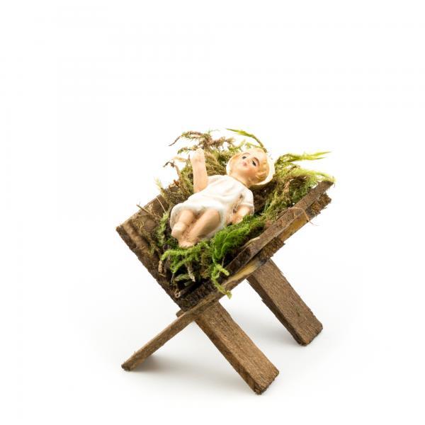 Holzkrippe mit Jesuskind, zu 9cm Figuren