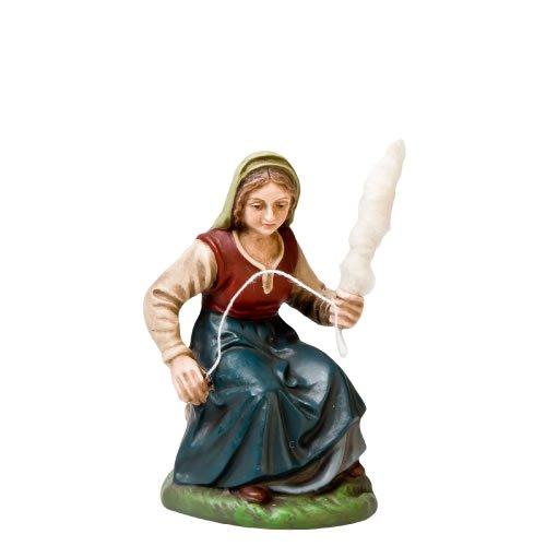Spinnerin sitzend mit Spindel, zu 10cm Krippenfiguren - Original MAROLIN® - Krippenfigur für Ihre Weihnachtskrippe - Made in Germany
