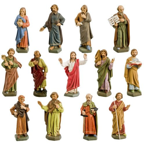 Jesus und seine Jünger, 13 Figuren, zu 11cm Krippenfiguren - Original MAROLIN® - Figuren für Ihre Krippe oder Weihnachtspyramide - Made in Germany