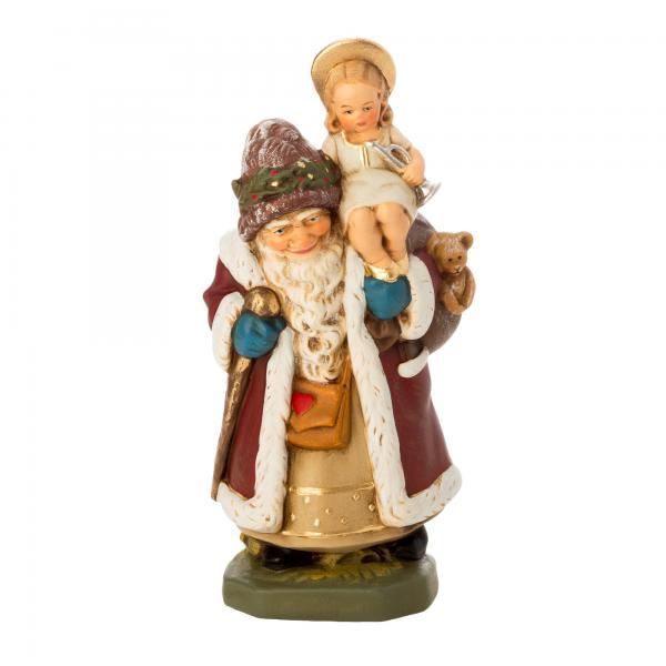 Weihnachtsmann mit Christkind auf Schulter, H = 16,5 cm