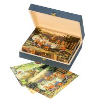 Wooden cube puzzle with fairy tale pictures of Brothers Grimm
