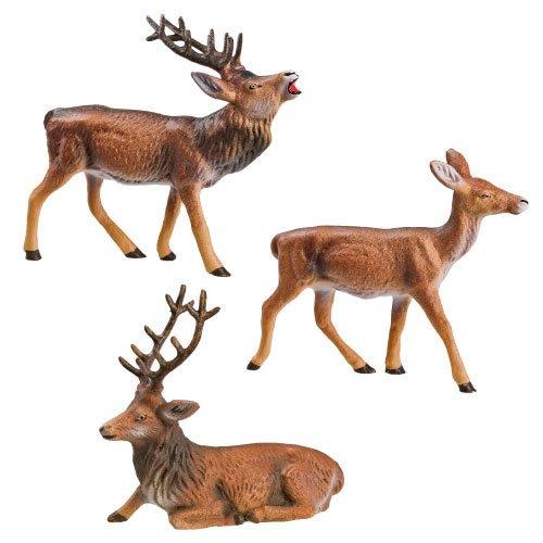Hirschgruppe, 3 Figuren, zu 9 - 10cm Figuren - ein Artikel der Original MAROLIN® - Tiere als Dekoration für Ihre Weihnachtskrippe oder Weihnachtspyramide - Made in Germany