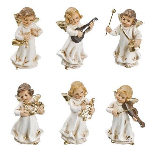 Engelkapelle (klein), 6 Figuren, antikweiß, zu 10 - 11cm Krippenfiguren - Original MAROLIN® - Engel für Ihre Weihnachtskrippe - Made in Germany