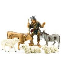 Shepherd with ox, donkey and 3 sheep, to 4.75 in. figures (plastic material)