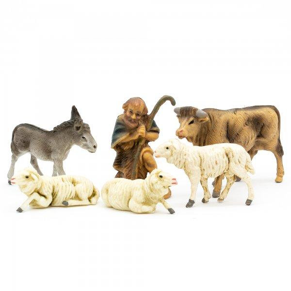 Tiergruppe mit Schäfer, 6-teil. Set, zu 7cm Fig. (Kunststoff)