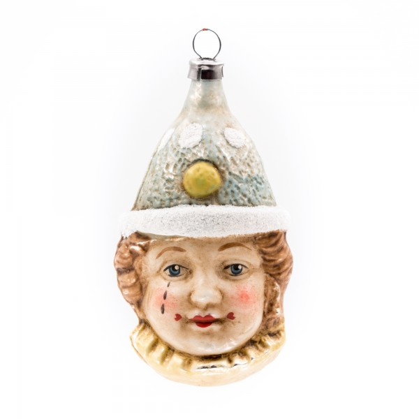 "Glass ornament ""Clown with blue hat"""