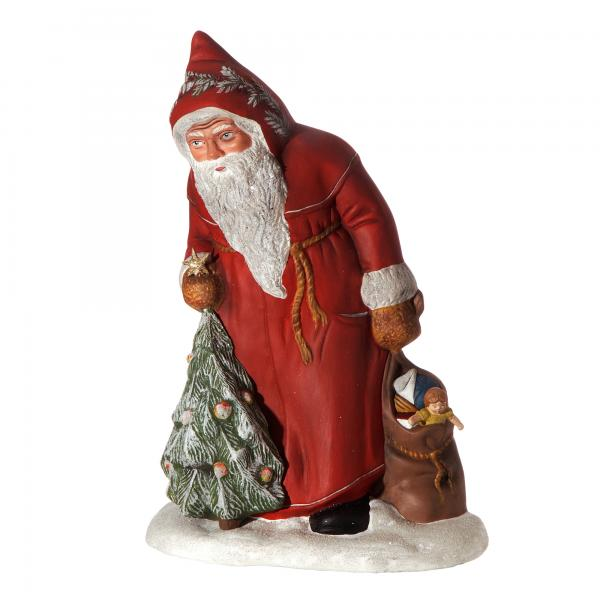 Nicholas with tree and sack, red, Height: 13 in., in wooden box