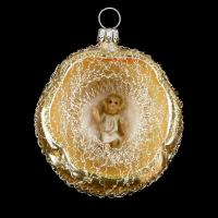 Ornament with Hollow, MAROLIN® - Baby Jesus and lyonese wire, gold