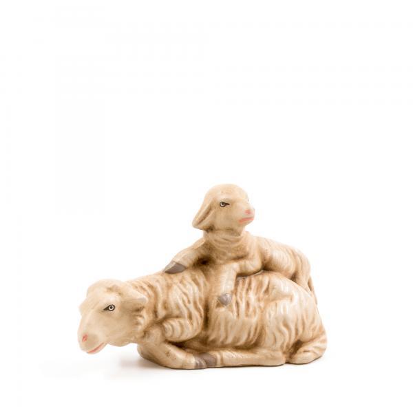 Schaf liegend mit Lamm, zu 14cm Figuren passend