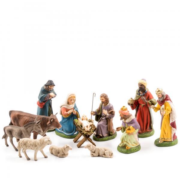 Krippensatz, 12 Teile, zu 10cm Krippenfiguren - Original MAROLIN® - Krippenfiguren für Ihre Weihnachtskrippe - Made in Germany