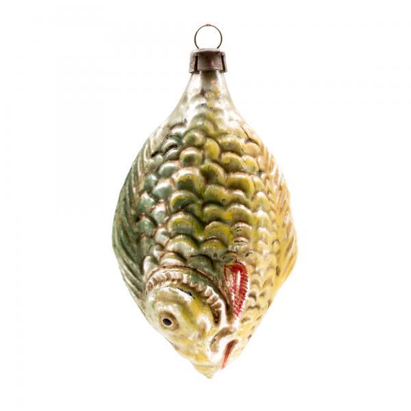 Glasornament 'Großer Fisch', patiniert