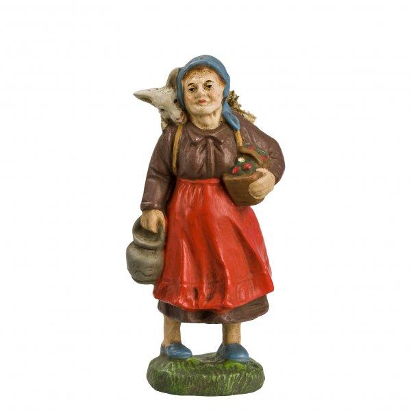 Frau mit Korb und Ziege, zu 10cm Figuren