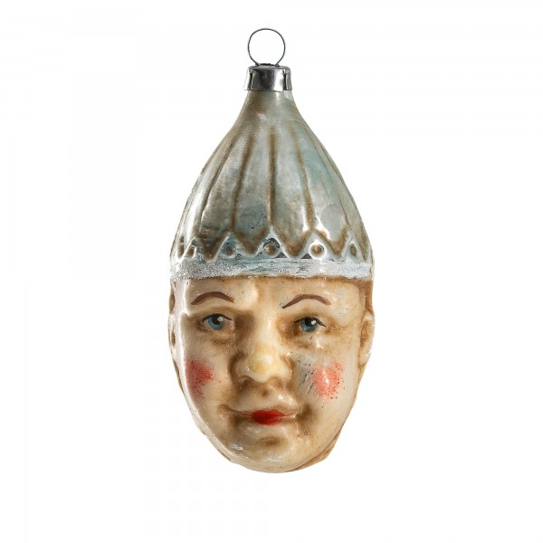 "Glass ornament Double Face ""Clown with blue cap"""