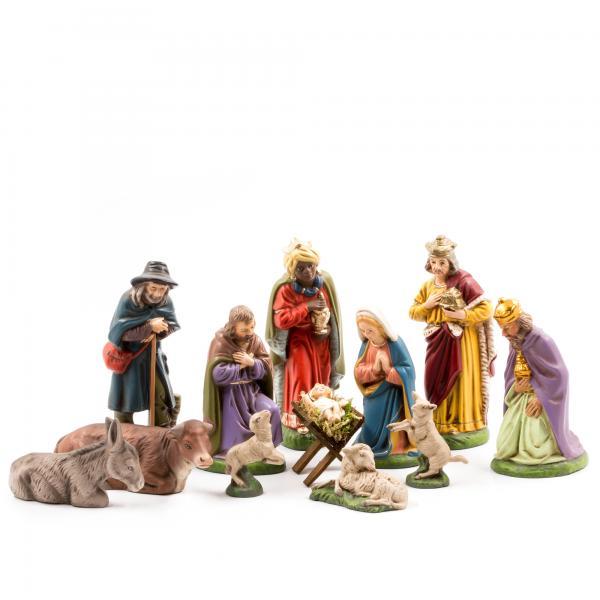 Krippensatz, 12 Figuren mit Holzkrippe, zu 11cm Krippenfiguren - Original MAROLIN® - Krippenfiguren für Ihre Weihnachtskrippe - Made in Germany