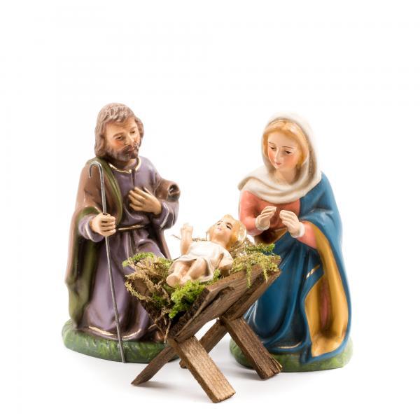 Heilige Familie mit Holzkrippe, 4 Teile, zu 10cm Krippenfiguren - Original MAROLIN® - Heilige Familie für Ihre Weihnachtskrippe - Made in Germany