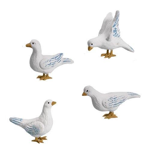 Taubengruppe, weiß, 4 Teile, zu 14 - 17cm Figuren - ein Artikel der Original MAROLIN® - Tiere als Dekoration für Ihre Weihnachtskrippe oder Weihnachtspyramide - Made in Germany