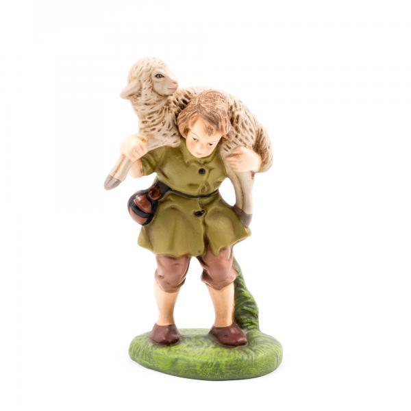 Hirtenjunge mit Schaf auf Schulter, zu 12cm Krippenfiguren - Original MAROLIN®-Krippenfigur für Ihre Weihnachtskrippe - Made in Germany