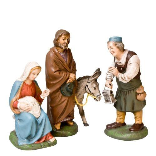 Herbergsuche, 4 Figuren, zu 11cm Krippenfiguren - Original MAROLIN® - Krippenfiguren für Ihre Weihnachtskrippe - Made in Germany