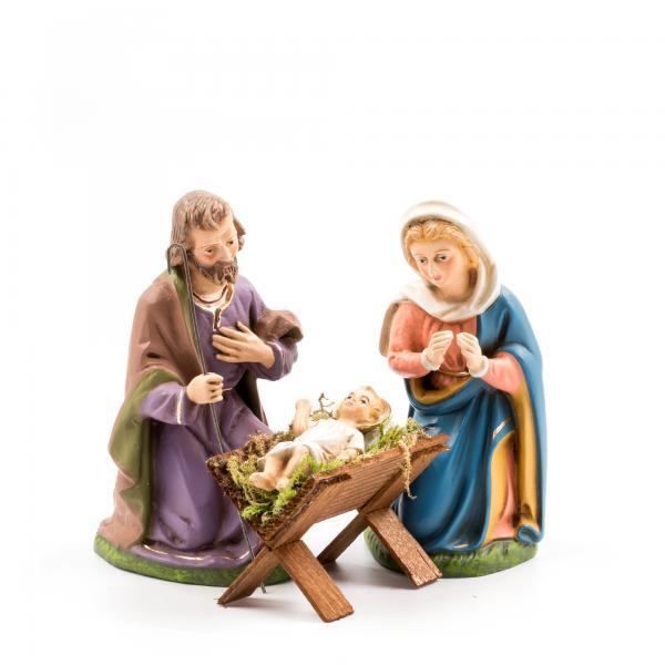 Heilige Familie mit Holzkrippe, 4 Teile, zu 12cm Figuren