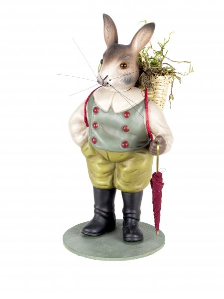 Easter hare with basket and umbrella, Height = 20 cm