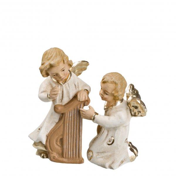 Zwei Engel mit Harfe, antikweiß, zu 10 - 11cm Figuren