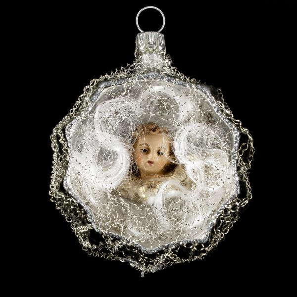 Ornament with hollow, MAROLIN® - angel head and lyonese wire, silver