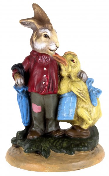Easter hare with chicken, Height = 13 cm