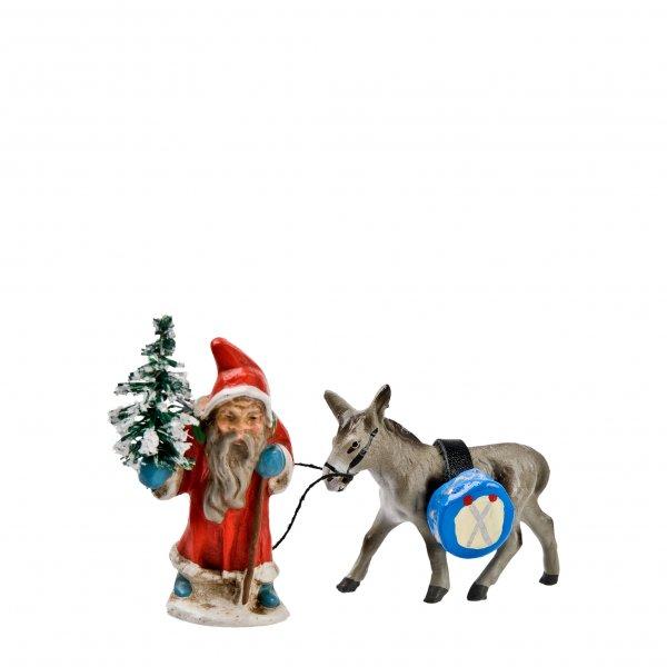 Miniaturweihnachtsmann mit Esel