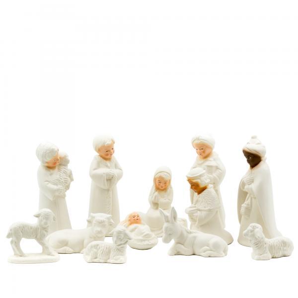 Bemalset Kinderkrippe - 12 Figuren zum Bemalen