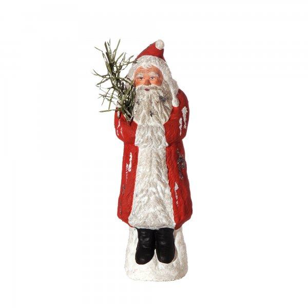 Weihnachtsmann mit Muff auf Sockel, rot, H=24cm, befüllbar