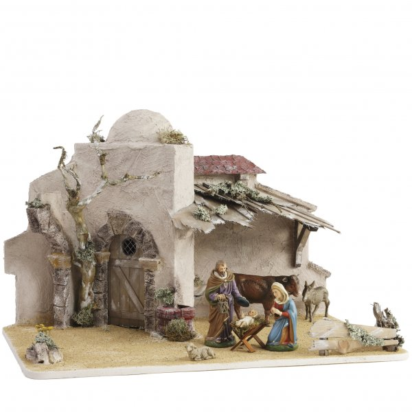 Orientalischer Stall mit Kuppel für 14 - 17cm Krippenfiguren - Original MAROLIN® - Krippenstall für Ihre Weihnachtskrippe - Made in Germany