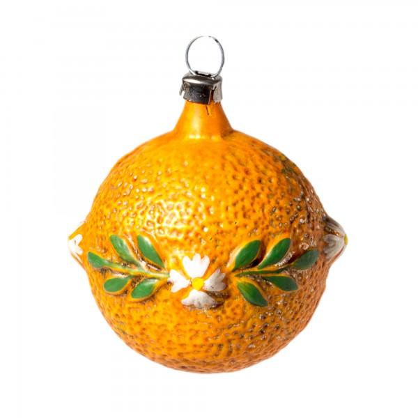 Glas Kugel 'Apfelsine mit Blüten' patiniert