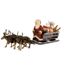 Santa Claus on reindeer sled