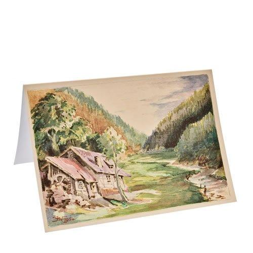"""Klappkarte """"Alte Märbelmühle im Steinachgrund"""" - ein Artikel aus der Serie  MAROLIN® - Karten - Made in Germany."""