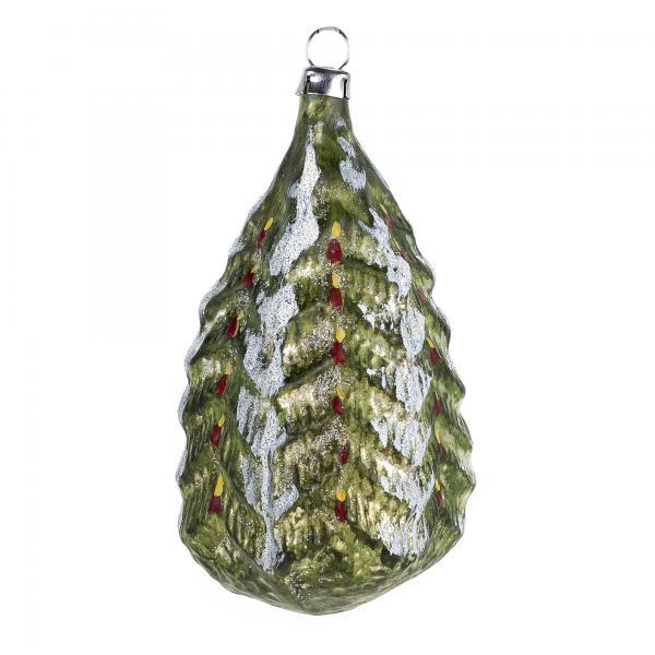Glas Motiv Weihnachtsbaum patiniert