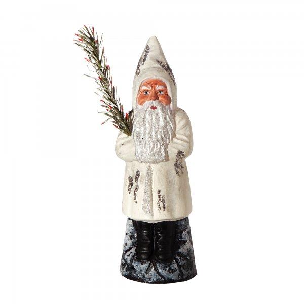 Weihnachtsmann auf Sockel, weiß , H=16cm, befüllbar
