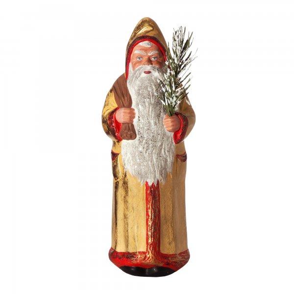 Weihnachtsmann mit Sack, gelb/gold, H=26,5cm, befüllbar