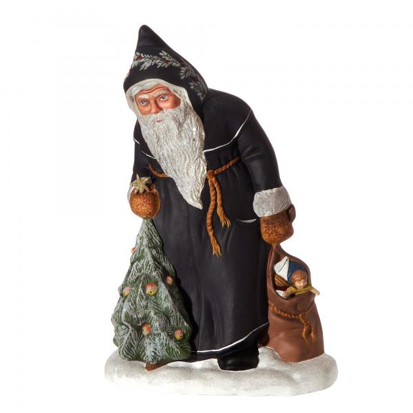 Nicholas with tree and sack, dark blue, Height: 13 in., in wooden box