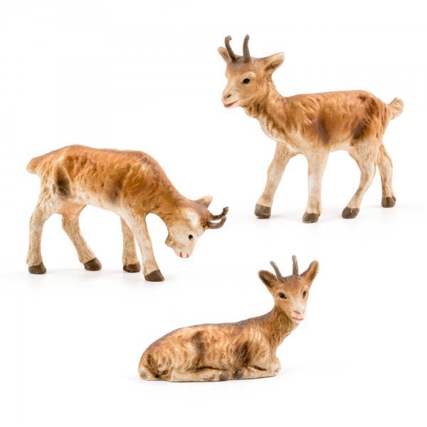 Ziegengruppe, 3 Teile, zu 9 - 10cm Krippenfiguren - Original MAROLIN® - Krippenfiguren für Ihre Weihnachtskrippe - Made in Germany