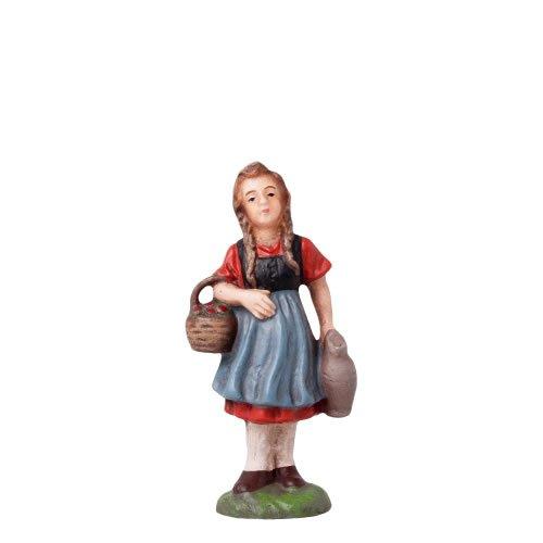 Mädchen mit Korb und Kanne, zu 10cm Figuren - Original MAROLIN® - Figur für Ihre Weihnachtspyramide oder Weihnachtskrippe  - Made in Germany