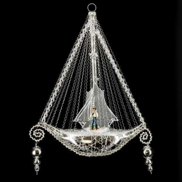 Ship with oblate, sail and 2 glass bead hangers, silver