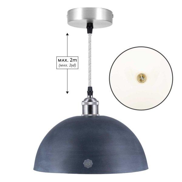 """Pendulum lamp """"Hemisphere"""", slate colored, white"""