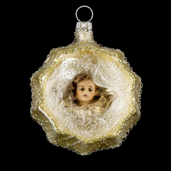 Ornament with hollow, MAROLIN® - angel head and lyonese wire, gold