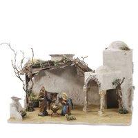 Orientalischer Stall mit Portal für 8 - 10cm Krippenfiguren - Original MAROLIN® - Krippenstall für Ihre Weihnachtskrippe - Made in Germany