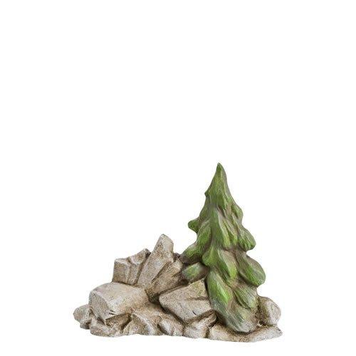 Felsen mit Tanne (Halbrelief), H= 7,7cm, für 9 - 11cm Figuren - Original MAROLIN® - Zubehör für Modellbau oder Ihre Weihnachtskrippe - Made in Germany