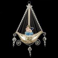 Gondel mit 2 Engel-Oblaten, Kantille und Perlenhänger, gold